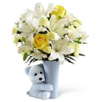 Μπουκέτο με Λίλλιουμ, Κίτρινα Τριαντάφυλλα και Αλστομέρια Συνοδεύεται από Λούτρινο Αρκουδάκι