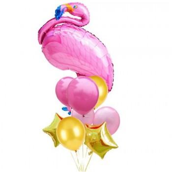 Μπουκέτο με Μπαλόνια 1 Φλαμίνγκο 36' και 6 Latex 11' και 2 Αστέρια Foil 18'