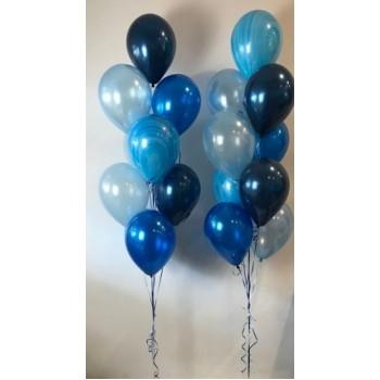 Μπουκέτο με Μπαλόνια Latex 11' Μπλε Metallic set 2