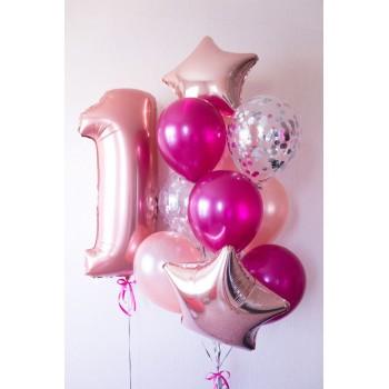 Μπουκέτο με Μπαλόνια Latex 11', Foil 18' και Νούμερο.
