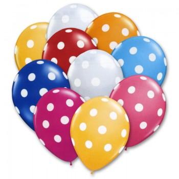 Μπαλόνια Latex Πουά 12' Με Ήλιον
