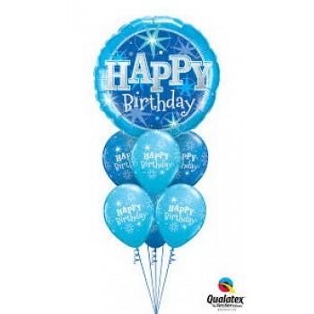 Μπουκέτο με Μπαλόνια Happy Birthday Μπλέ -Γαλάζιο με Ήλιον
