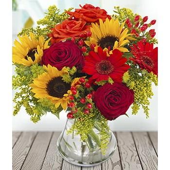 Μπουκέτο με Ηλίανθο, Κόκκινα Τριαντάφυλλα και Ζέρμπερες