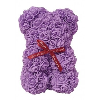 Beauty And The Beast Small Teddy Bear Purple Roses